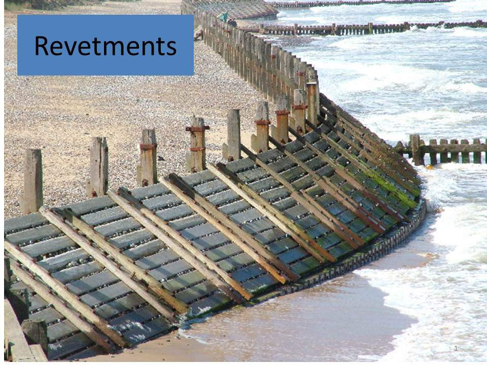 Revetments in geography.