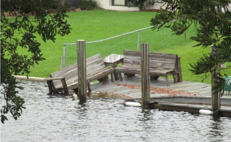 Damaged boat dock after Hurricane in Florida.