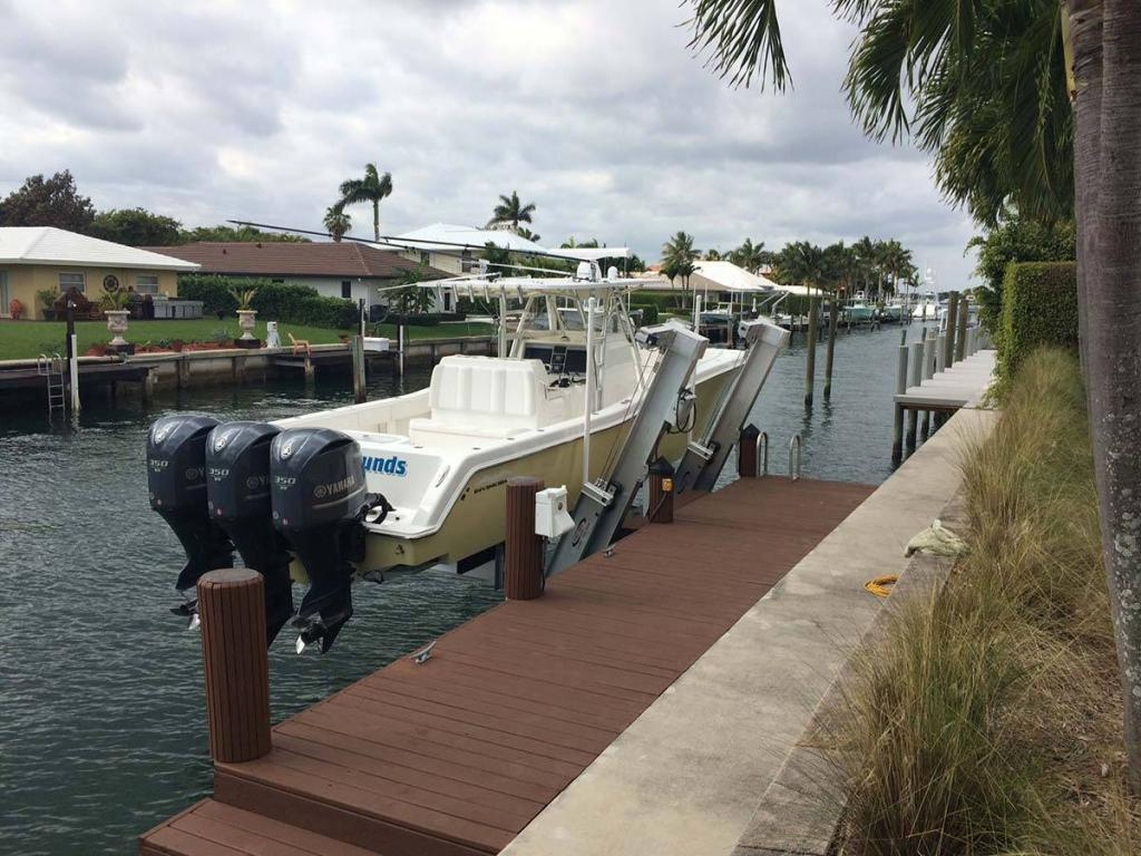 A 20000 pounds Hurricane Elevator Boat Lift by All Power Marine.