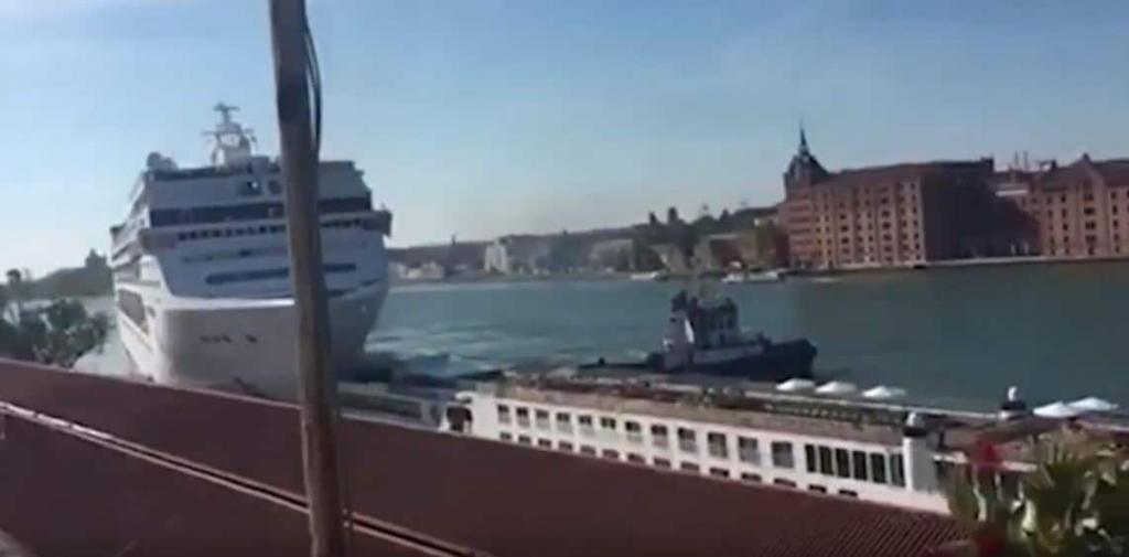MSC Cruise Ship hits dock in Venice, Italy.