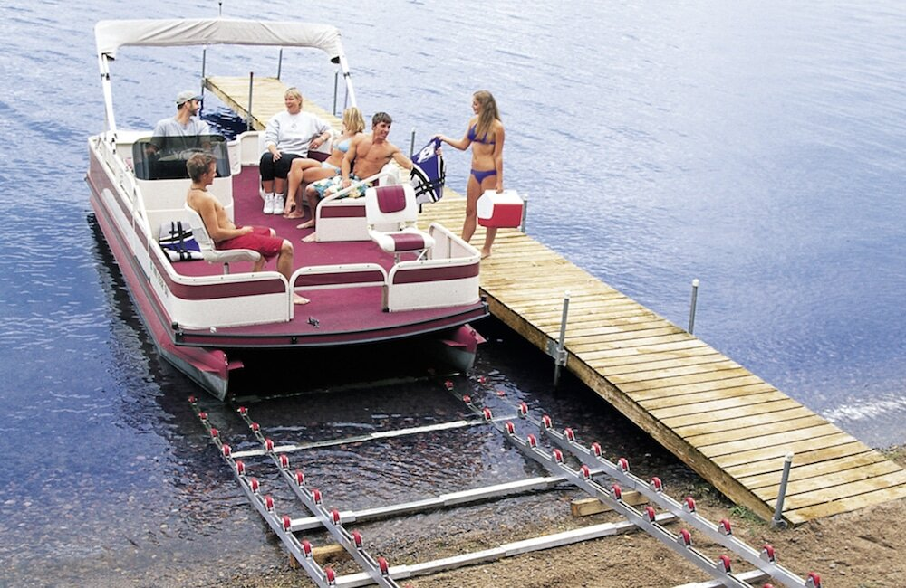 A shore mounted boat lift courtesy of Roll N Go featured on Boats.com