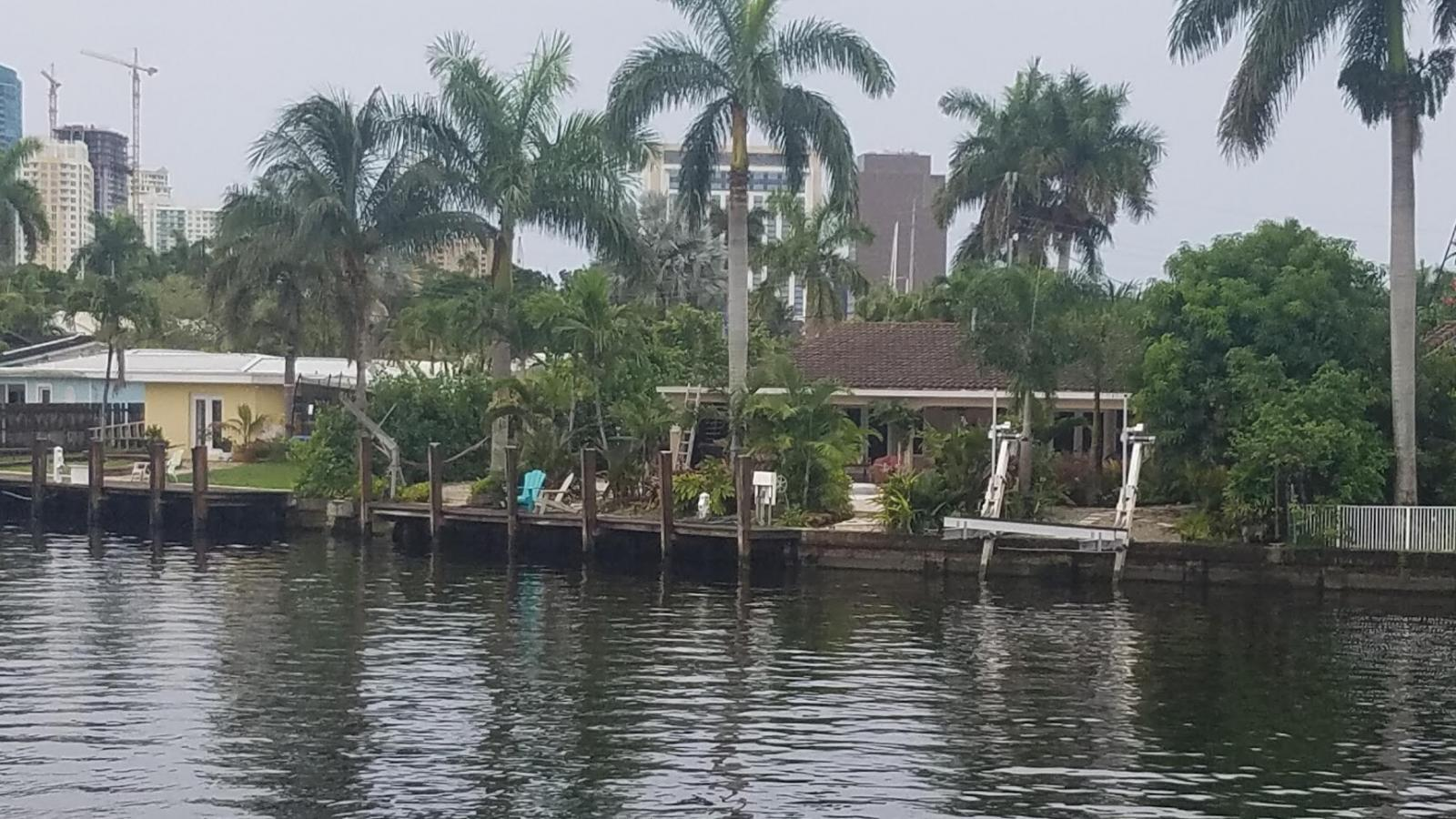 Two different types of boat lifts on this picture.