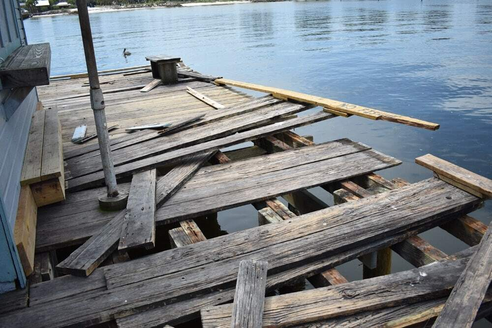 Damaged dock needing repairs.