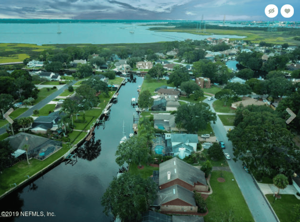 Bird's eye view of waterfront Jacksonville neighborhood.