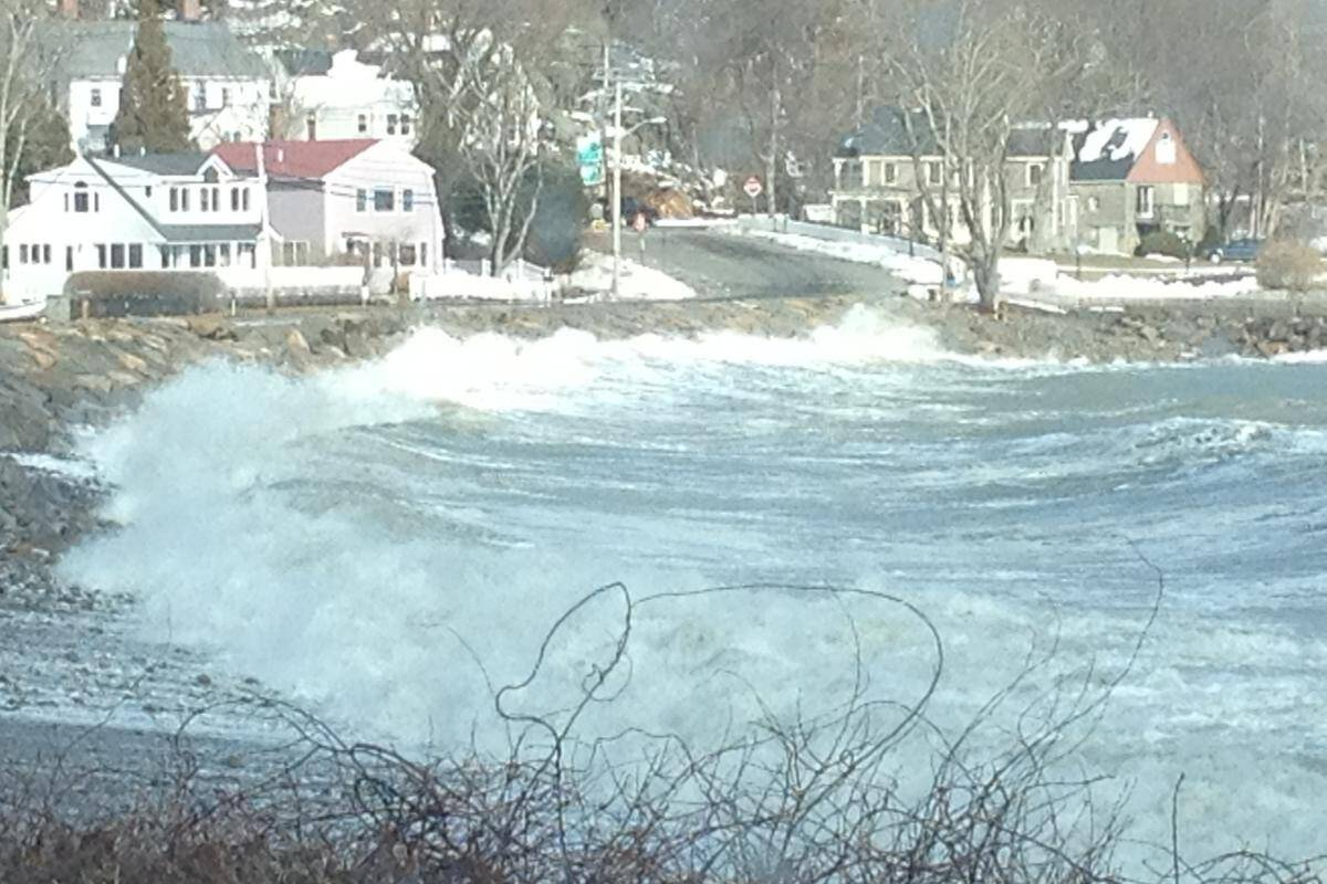 A revetment getting hit by the ocean in Back Beach, MA.