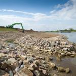 Revetment work at a river bank.