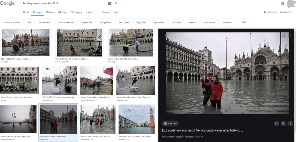 Tourists on flooded Venice, google search