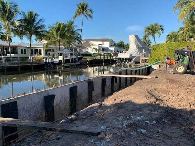 Seawall slabs on the Naples seawall project.