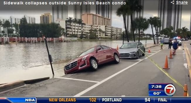 Seawall collapsed in Sunny Isles Beach, Christmas week.