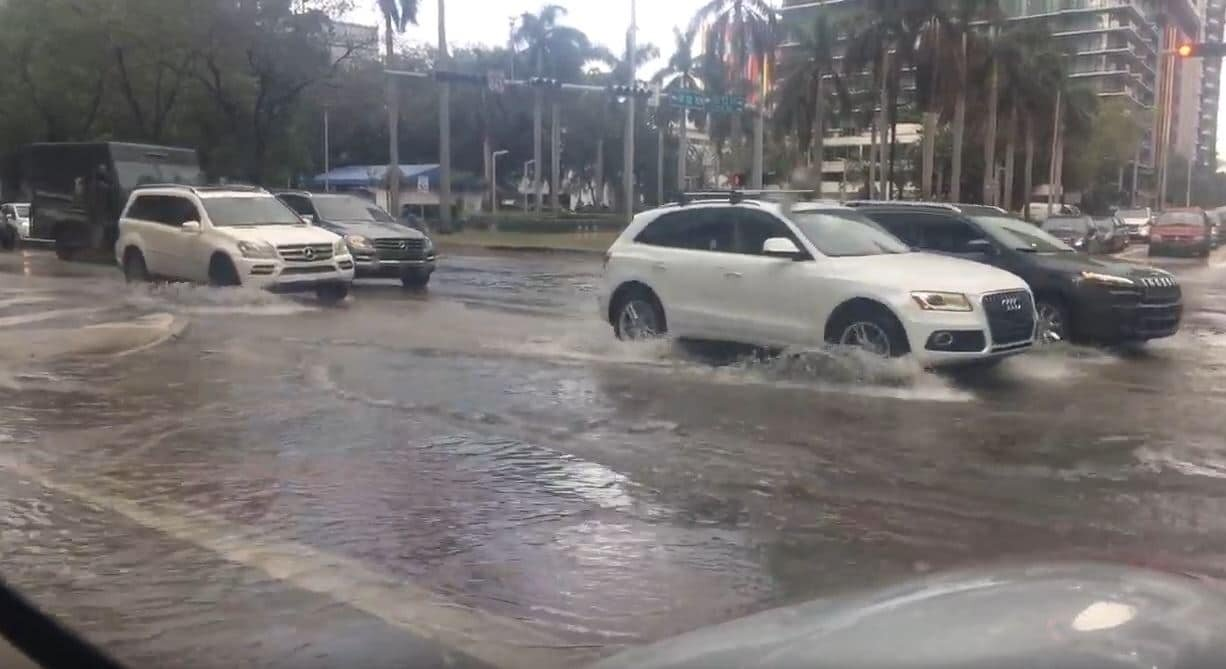 Brickell in Miami Flooded during king tide.