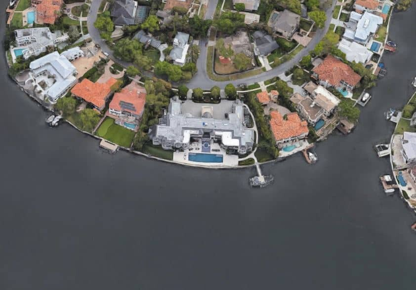 Tom Brady Tamp view from top... great waterfront house on the Tampa Bay.