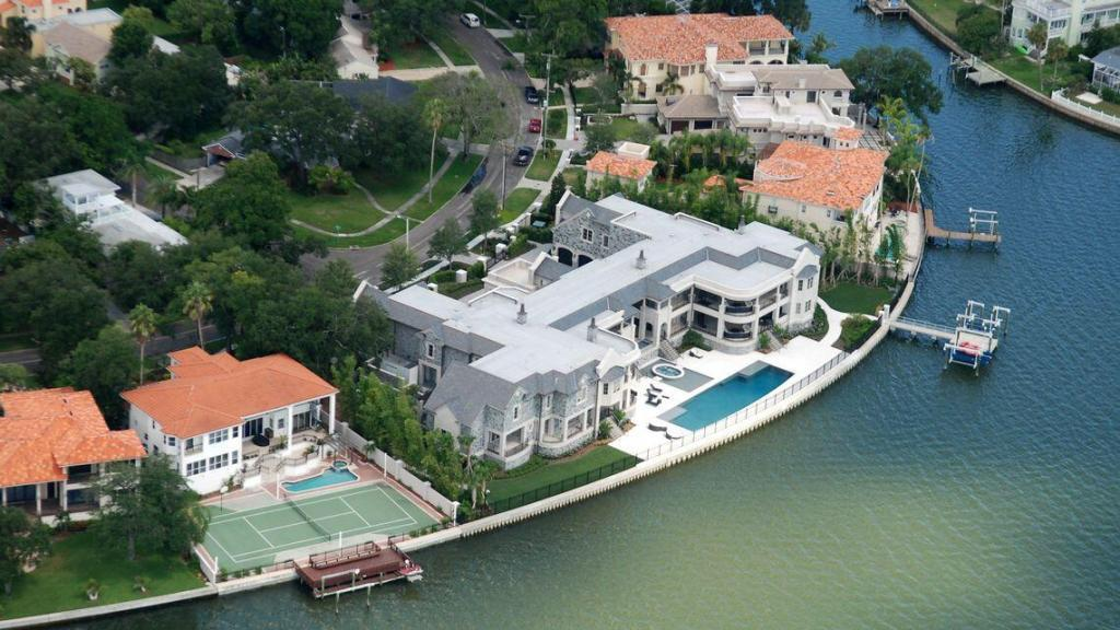 Tom Brady's waterfront home in Tampa Bay has a private boat dock.