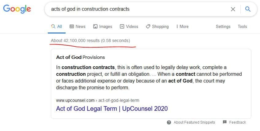 Acts of God in Construction law