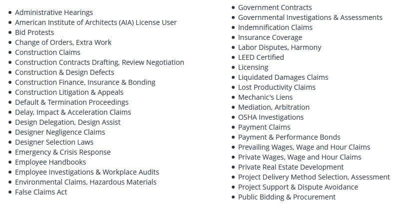 A list of typical construction law services a qualified construction attorney may provide: Hearings, claims, finance and insurance, delays and its impacts, emergencies, accidents and hazardous materials, etc...