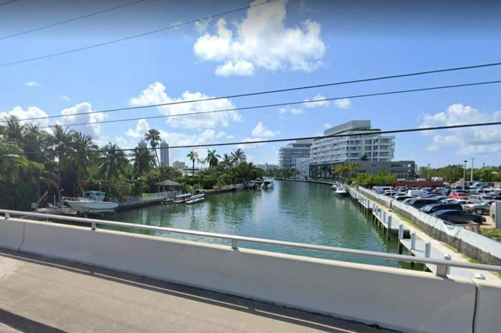 Canal on North Bay Road in Miami Beach, FL.