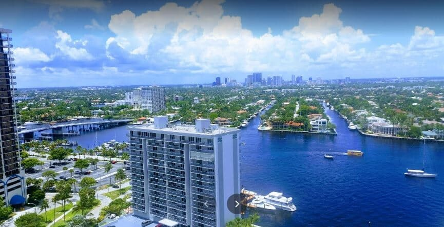 Las Olas Isles in Fort Lauderdale seen from the top.