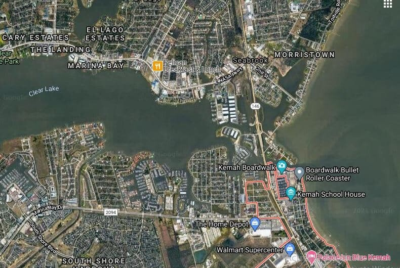 Kemah, TExas seen from the top on the map. And Marina Bay, Morristown, etc... all around the Clear Lake.
