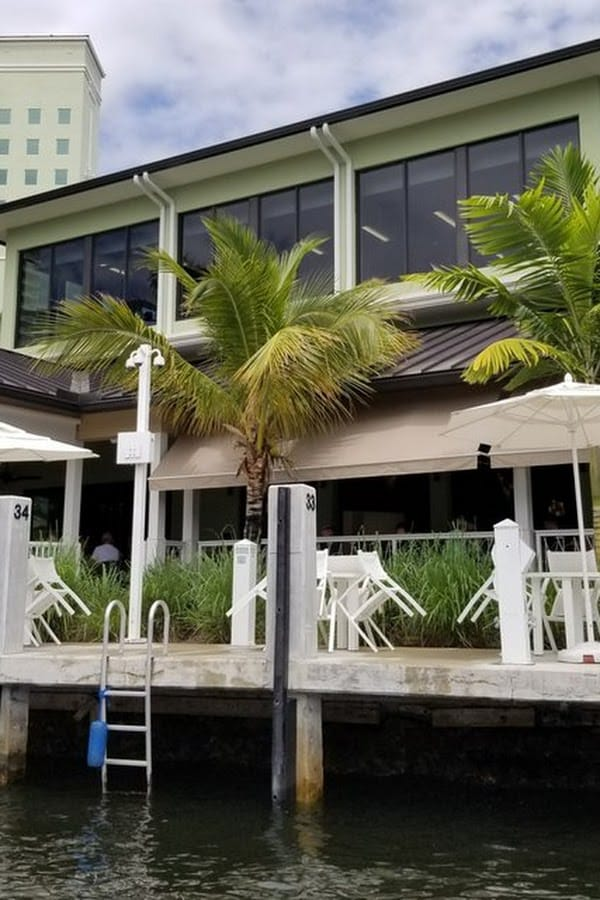 The Boathouse at the Riverside Hotel viewed from the water.