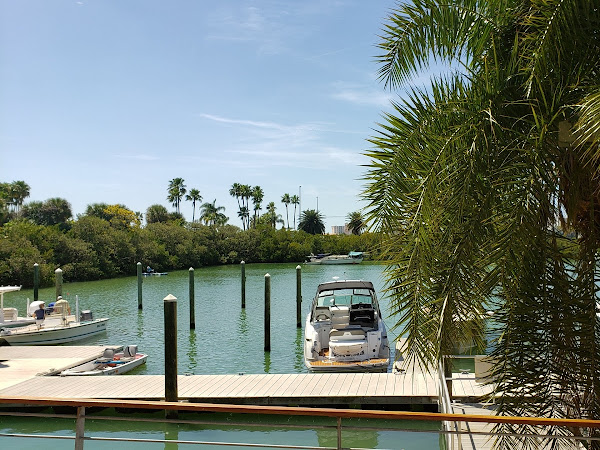 The boats moored at the Island Way Grill