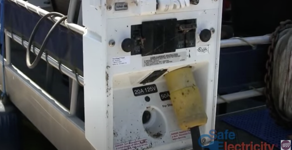 An electricity outlet for boat docks.