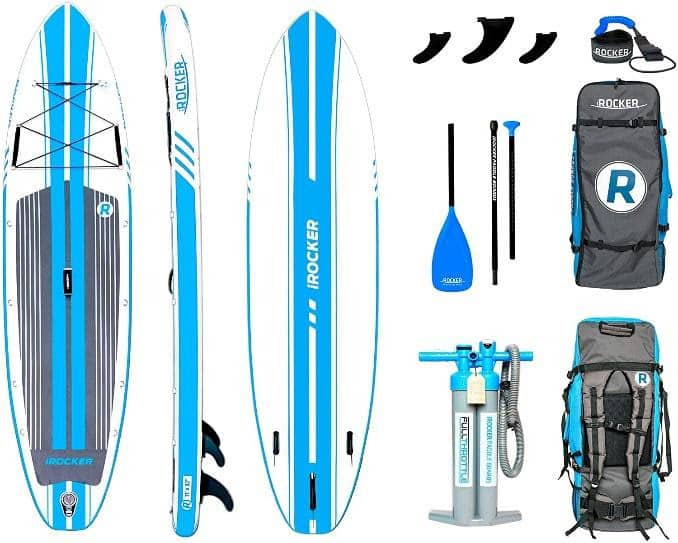 IRocker inflatable paddle boards pack.