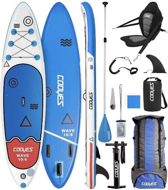 Cooyes Premium Inflatable Stand Up Paddle Board (6 inches Thick) with SUP Accessories & Backpack, Dry Bag, Adjustable Kayak Seat, Large Fin, Leash, Paddle and Pump, Standing Boat for Youth & Adult.