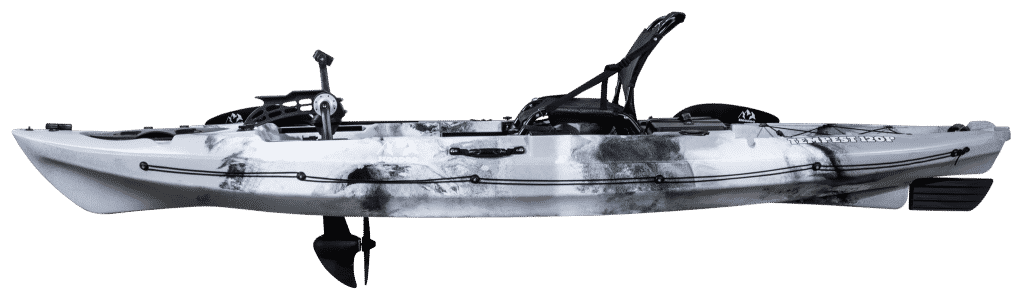 Pedal kayak has pedals for propelling forward the vessel.