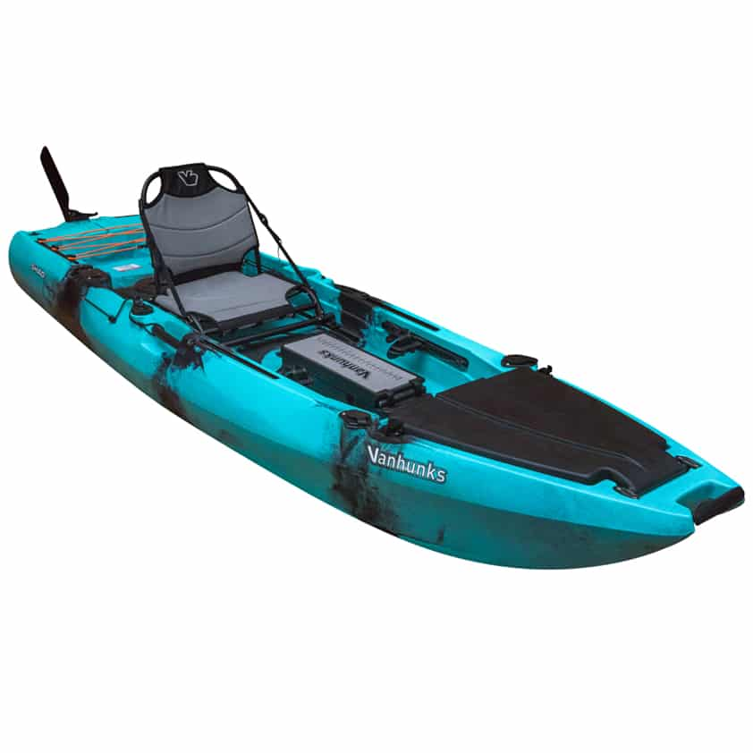 An example of fishing kayak. A fishing kayak has accessories and storage to make you confortable when out fishing for hours.