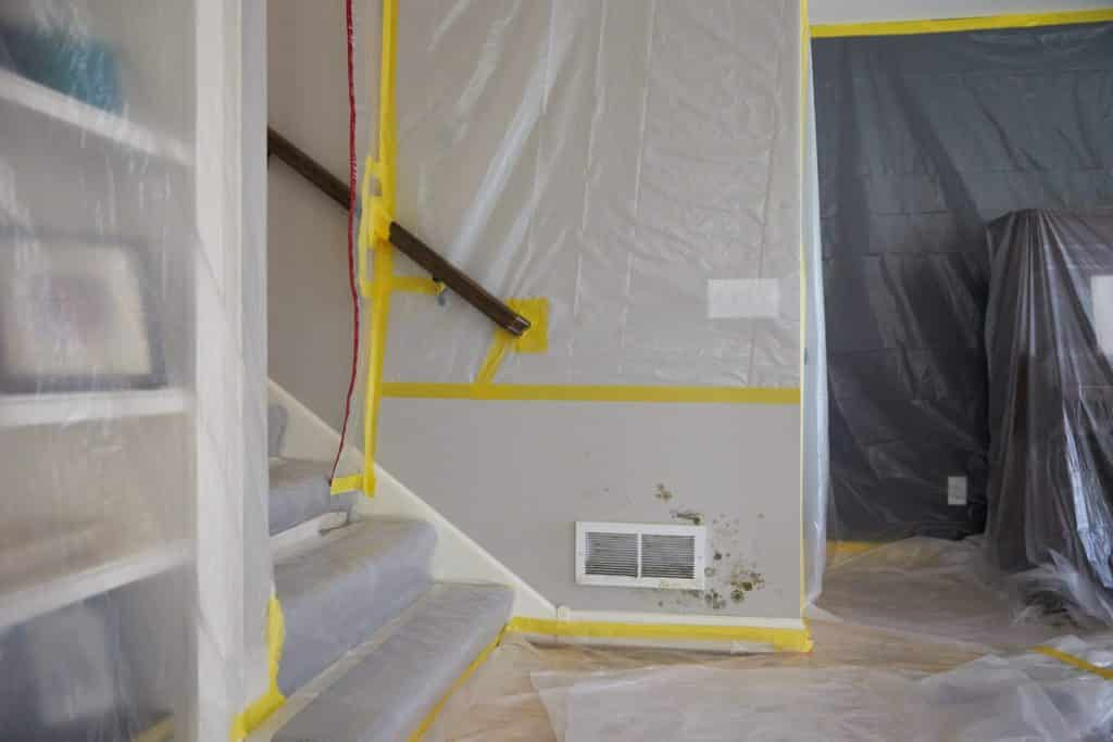 Wall getting prepared for mold removal. The drywall will be cut to remove that moldy part. Pic https://svmfireandwater.com/blog/mold-inside-walls/