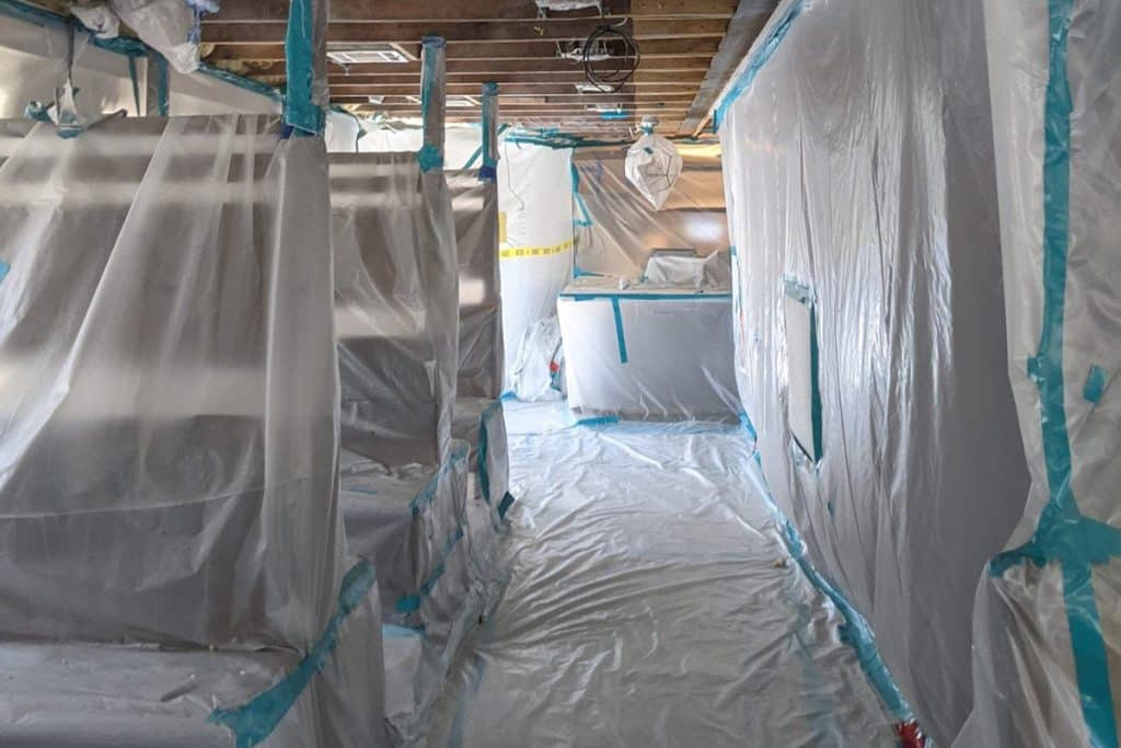 Water damage repair works on a restaurant in Houston in October 2020.